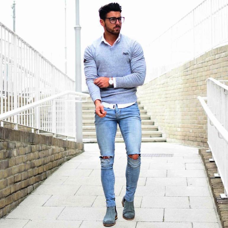 Phối đồ với quần jeans rách nam