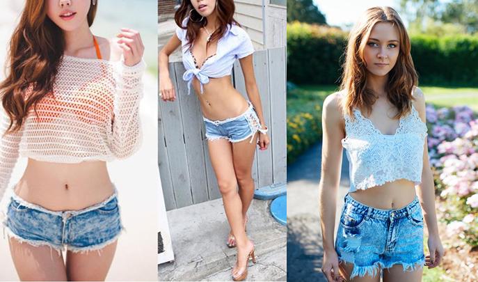 phối đồ với quần short jean cho nữ