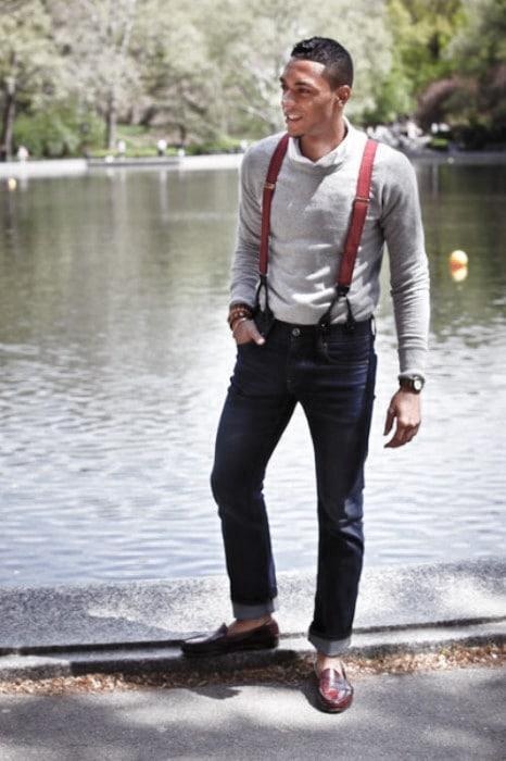 cách phối đồ với dây đeo quần nam